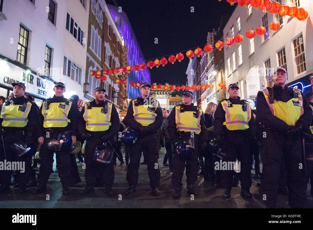 London, United Kingdom. 05th Nov, 2017. Million Mask March 2017 takes place in central London. Police forma cordon Stock Photo