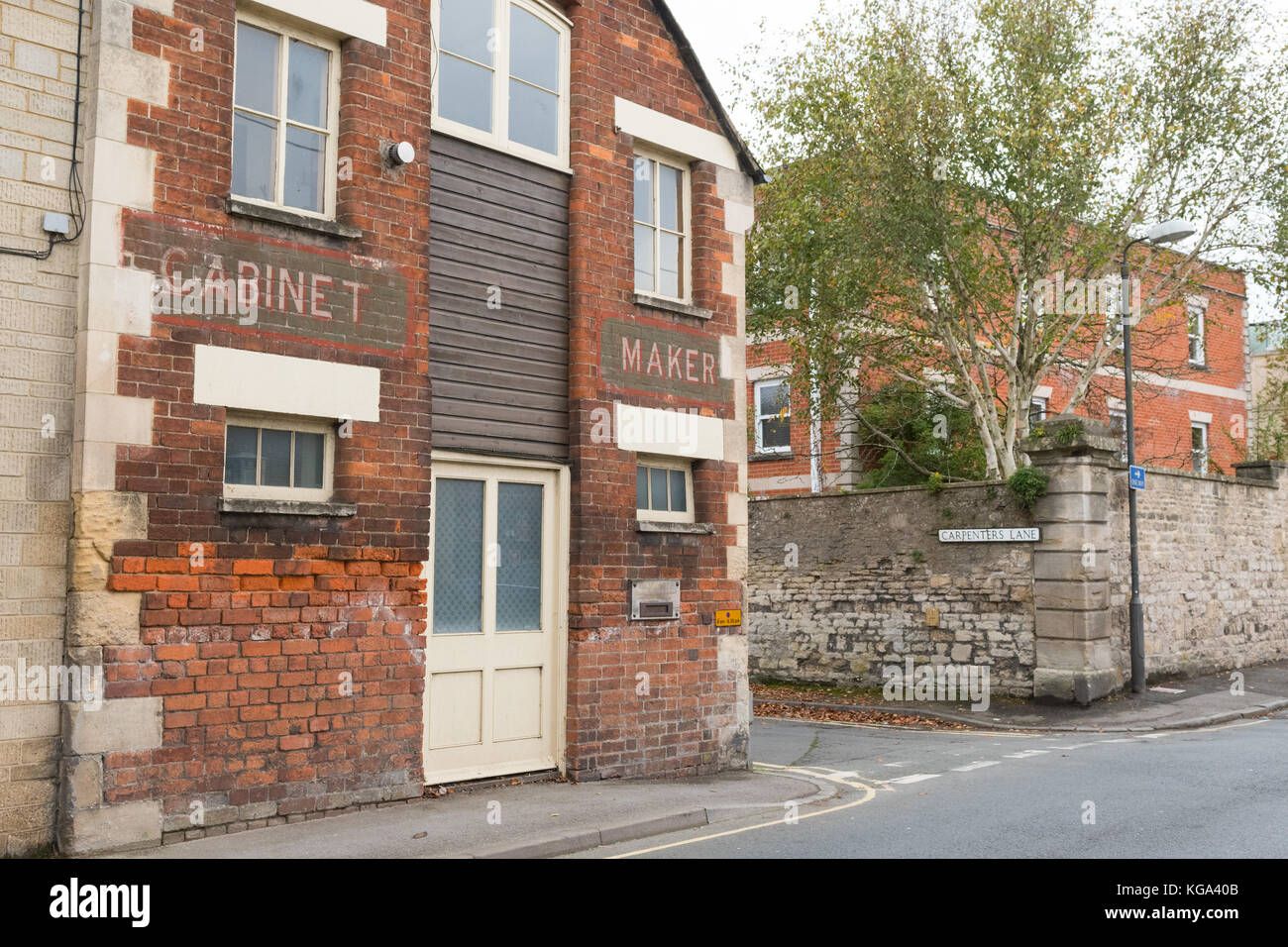 Cabinet Maker on Carpenters Lane, Cirencester, England, UK - street names business - Stock Image