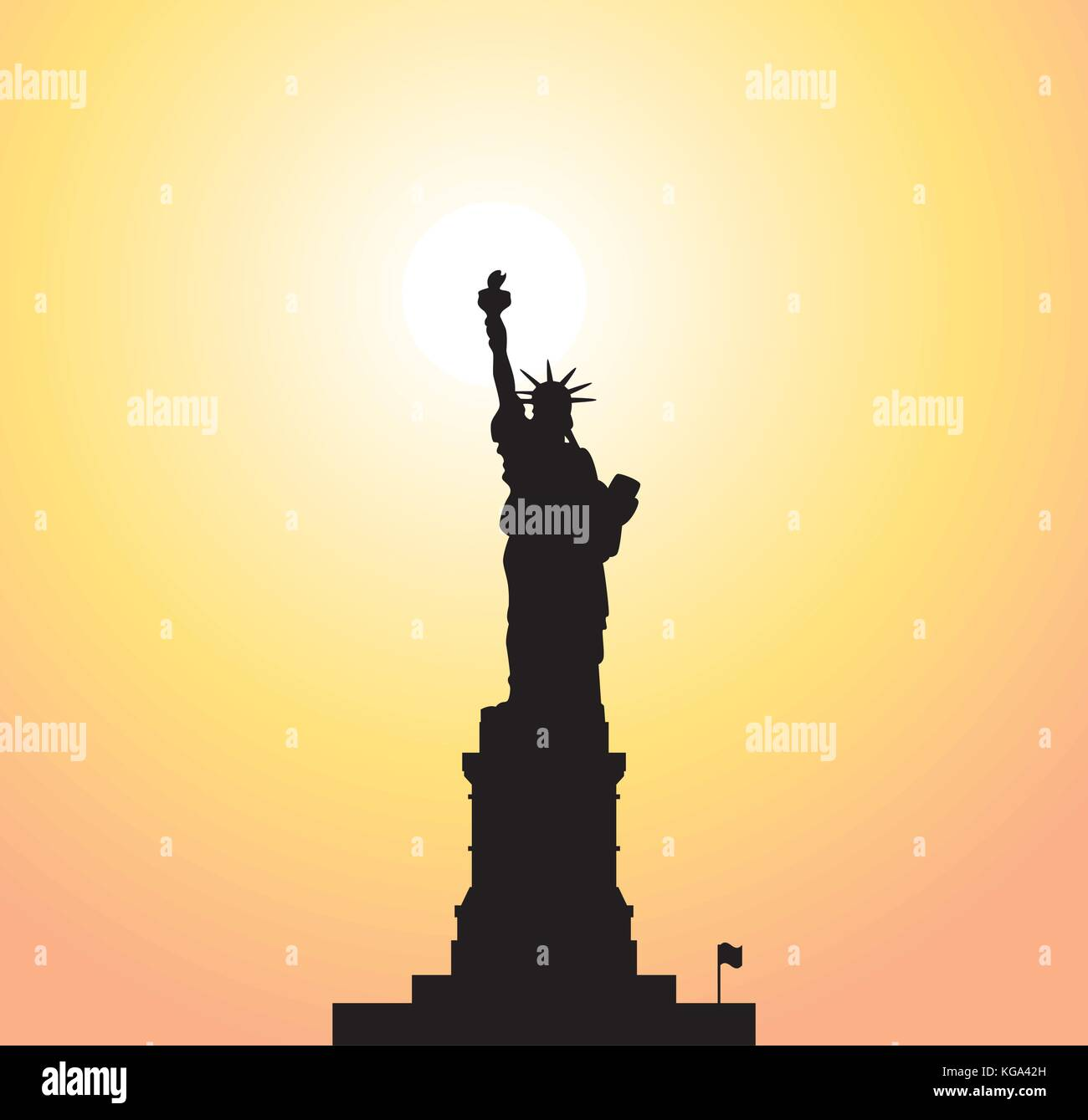 vector statue of liberty and bright sun Stock Vector