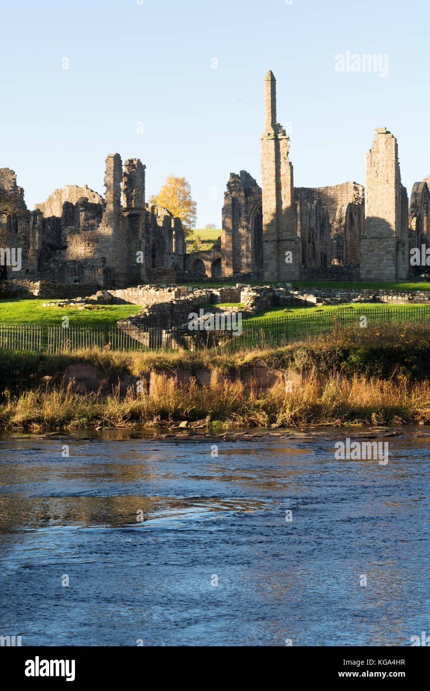 Autumn view of Finchale Priory, seen across the river Wear, Co. Durham, England, UK Stock Photo