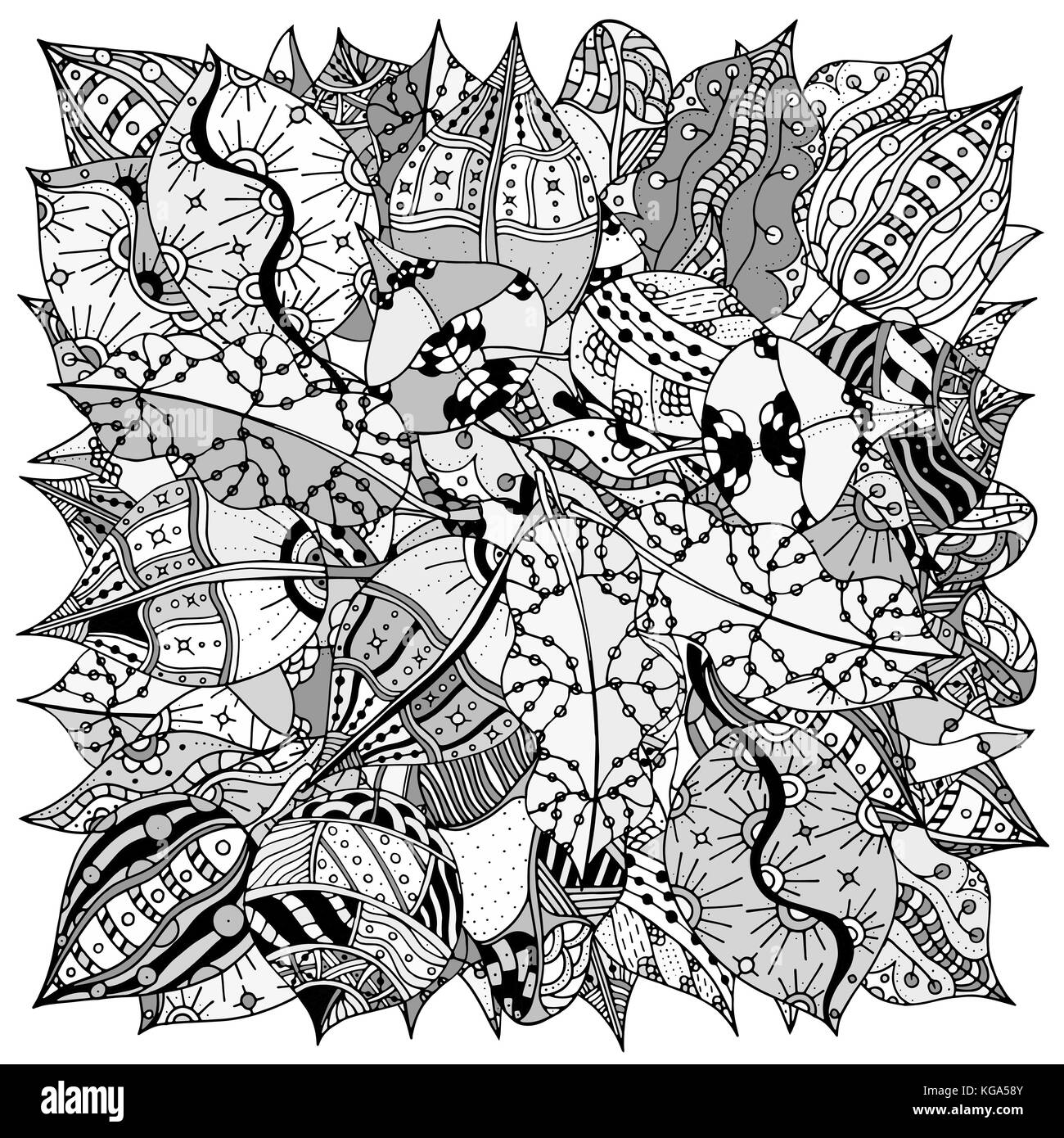 Pattern for coloring book with autumn leaves. Ethnic, floral, retro ...