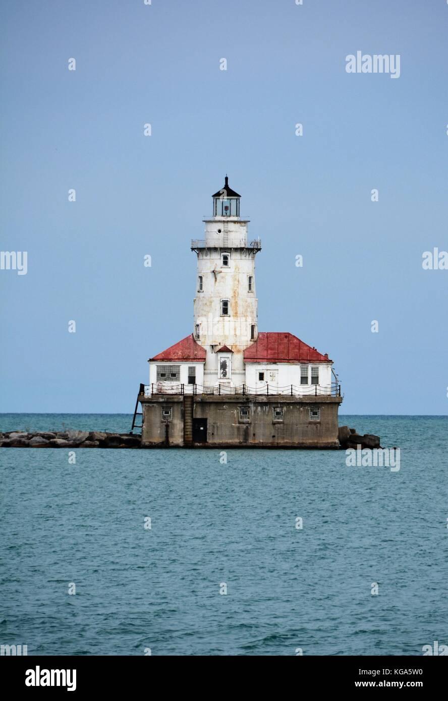 Old Lighthouse on Lake Michigan - Stock Image