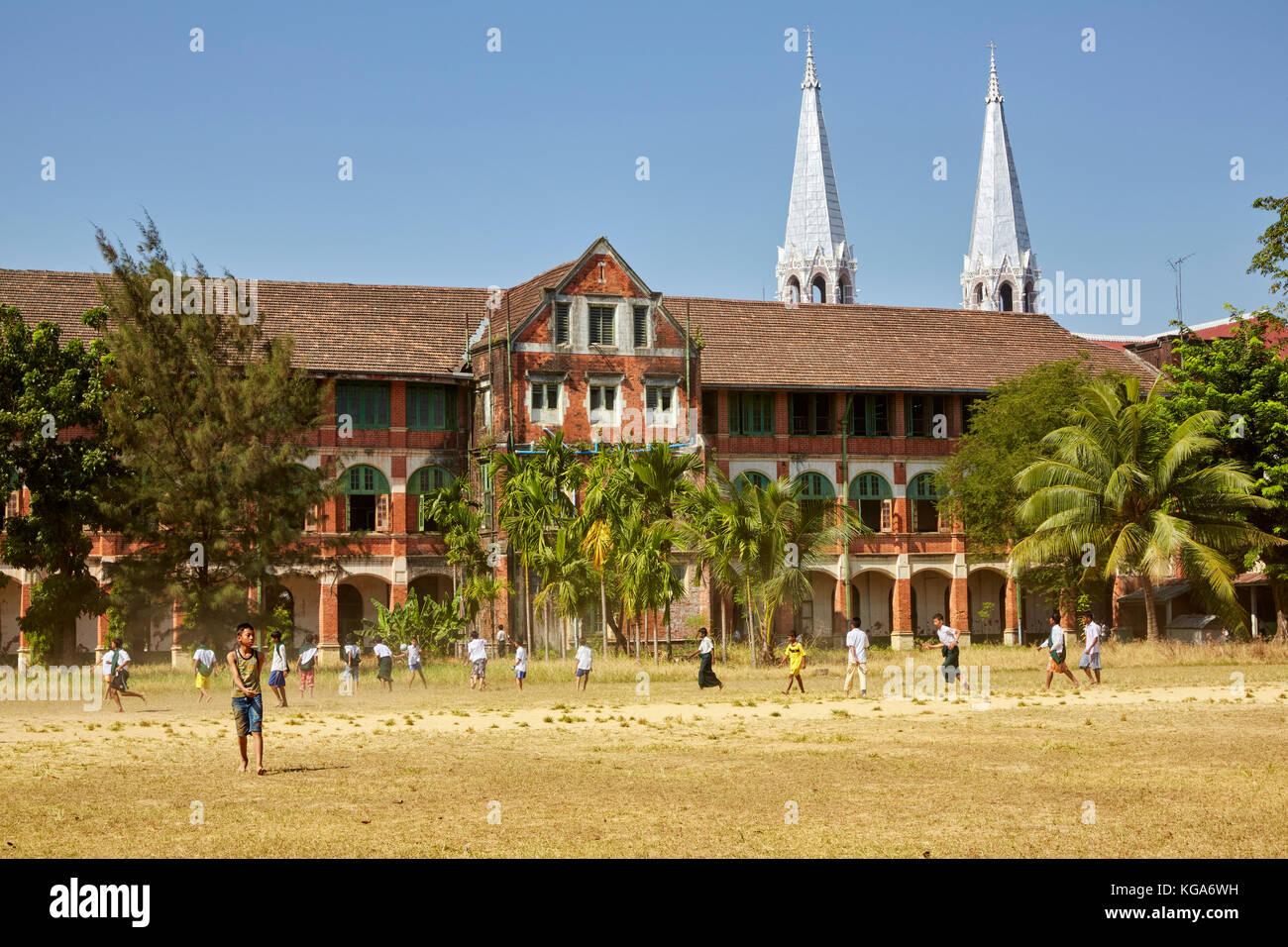 Basic Education High School Number 6, Botataung, Yangon, Myanmar (Burma) - Stock Image