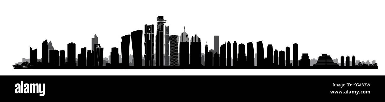 City Doha skyline. Arabic Urban cityscape. Qatar capital skyscraper buildings silhouette - Stock Vector