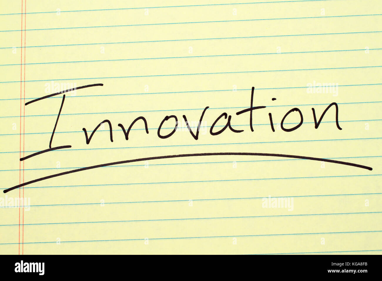 The word 'Innovation' underlined on a yellow legal pad - Stock Image