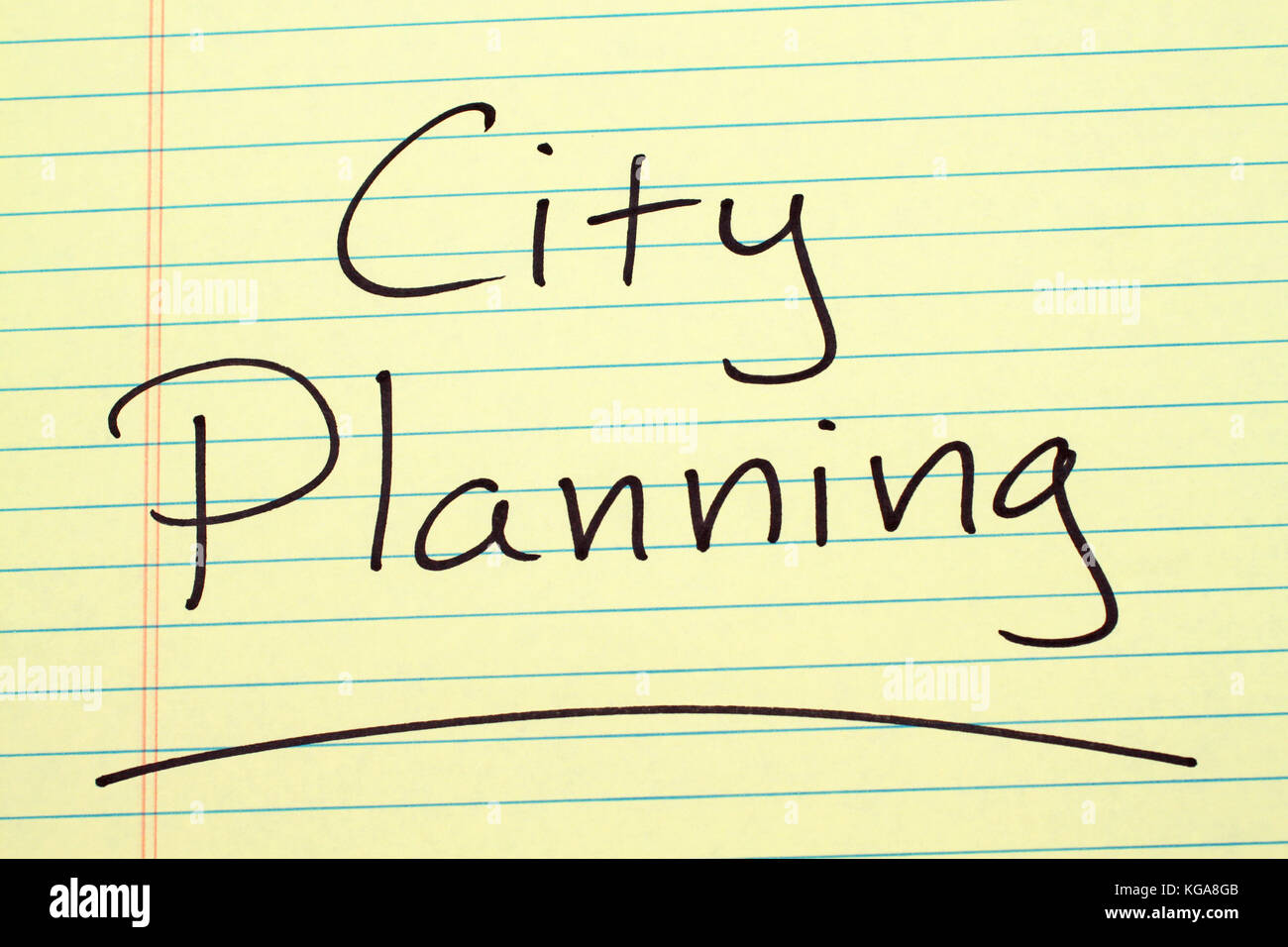 "The word ""City Planning"" underlined on a yellow legal pad Stock Photo"