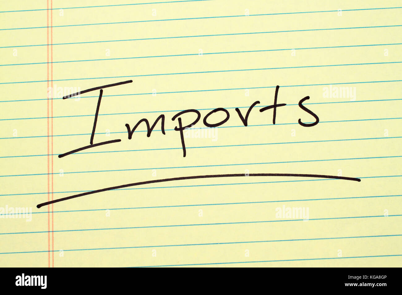 The word 'Imports' underlined on a yellow legal pad - Stock Image