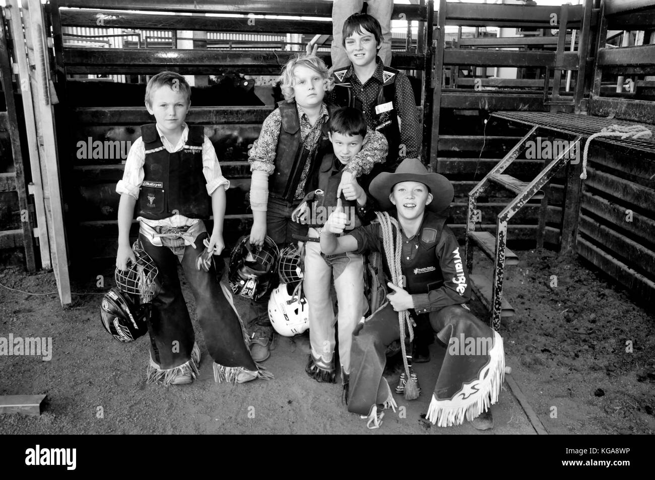 JUNIOR BULL RIDERS - Stock Image