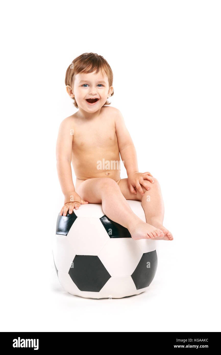 boy with a soccer ball - Stock Image