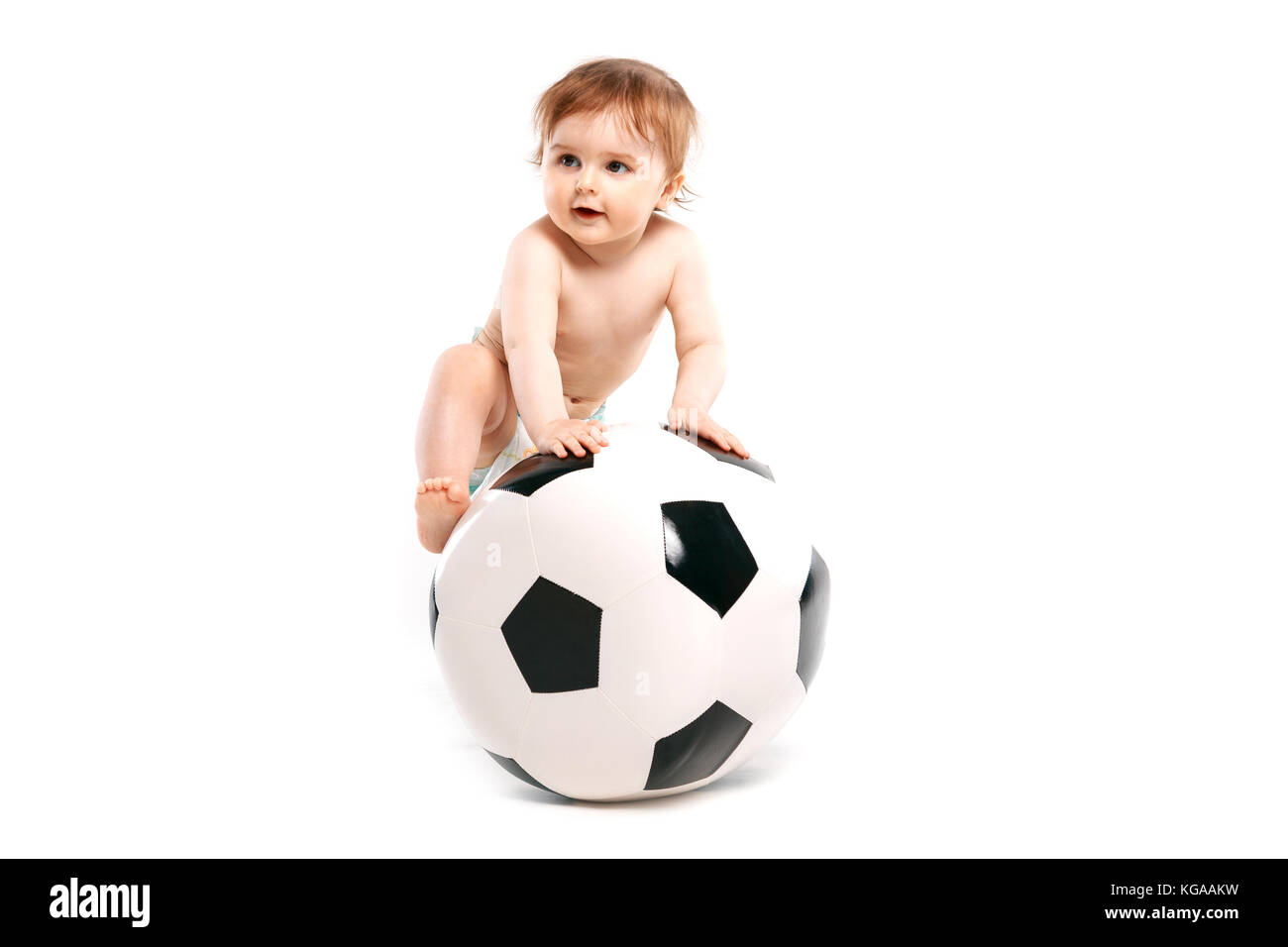 fan with a soccer ball - Stock Image