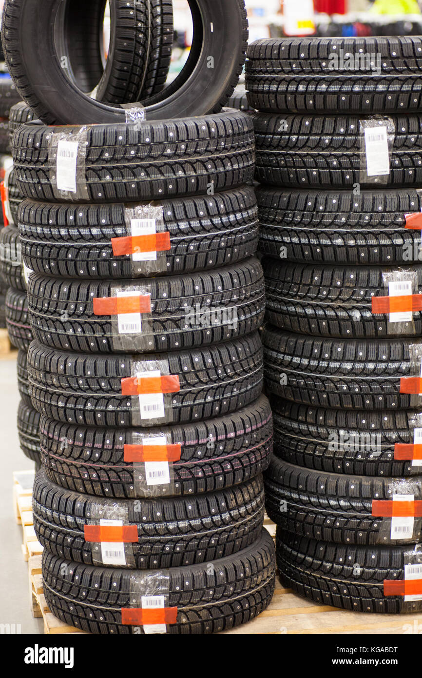 Studded tire on a background close-up Stock Photo