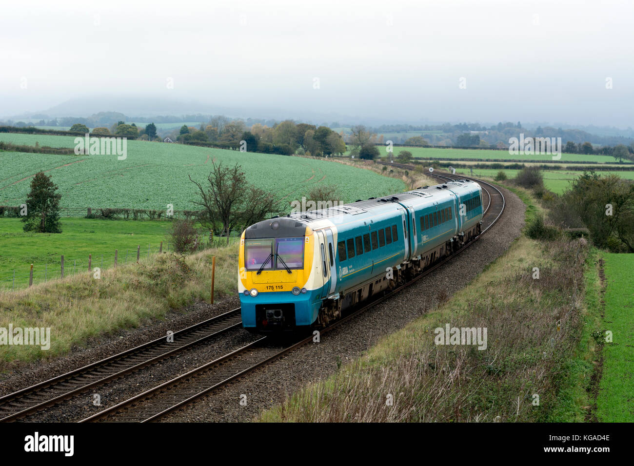 Arriva Trains Wales class 175 train on the Welsh Marches Line, Wistanstow, Shropshire, England, UK - Stock Image