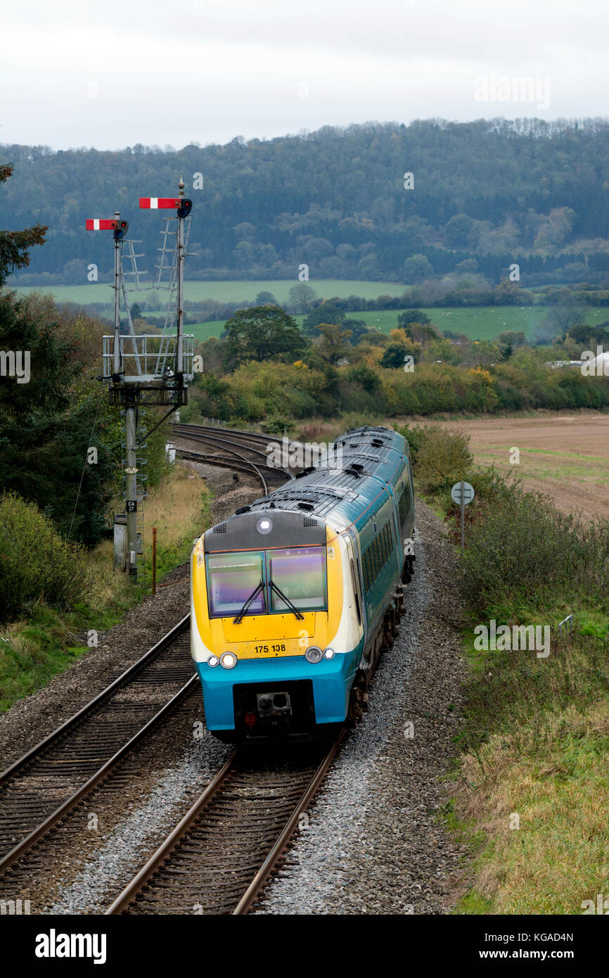 An Arriva Trains Wales class 175 train on the Welsh Marches Line, Cheney Longville, Shropshire, England, UK - Stock Image