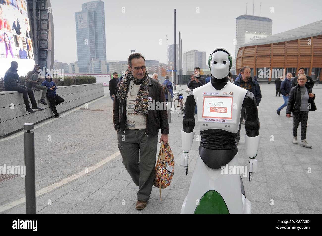 Milan (Italy), November 2017; for a few days the interactive robot Reem has moved to various places in the city - Stock Image
