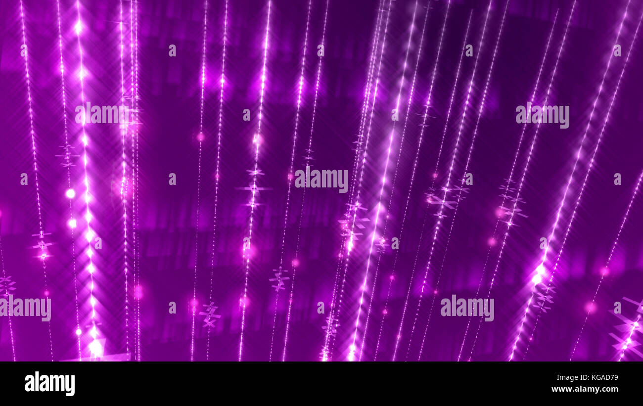 An astonishing 3d rendering of an abstract multilayered violet background with numerous glowing white rays in a Stock Photo