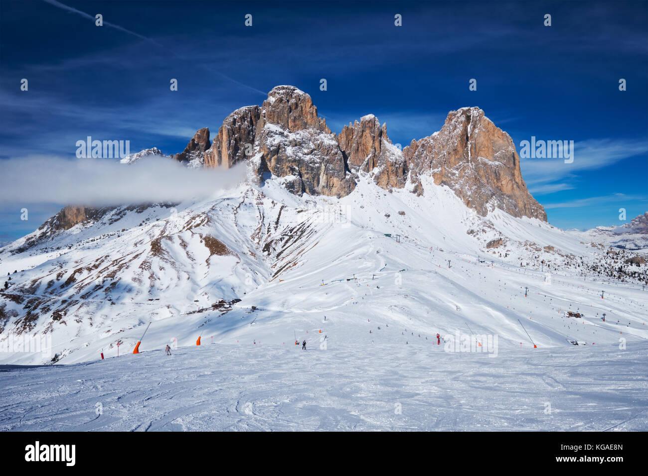 Ski resort in Dolomites, Italy - Stock Image