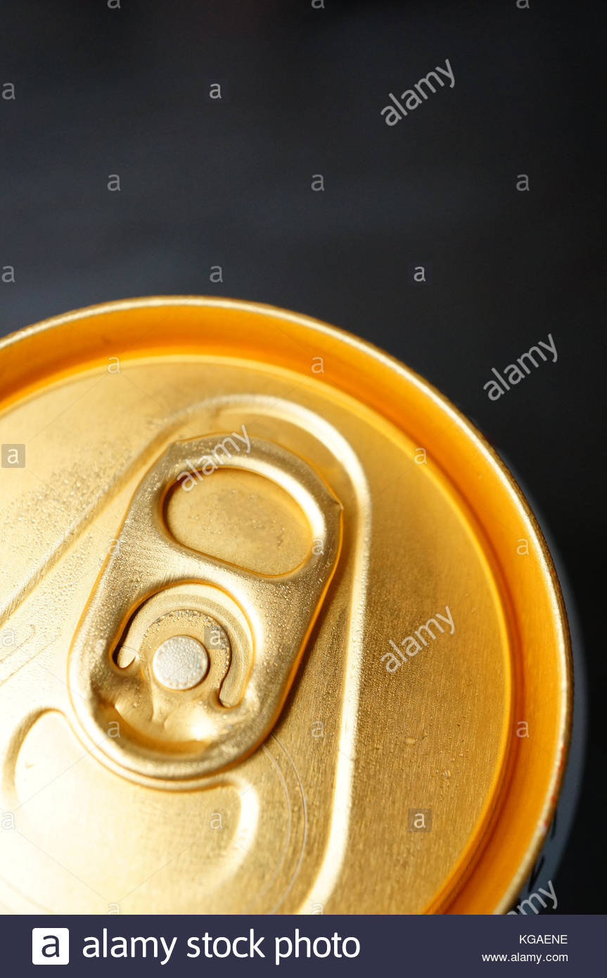Close-up of a beverage can with stay-tab - Stock Image