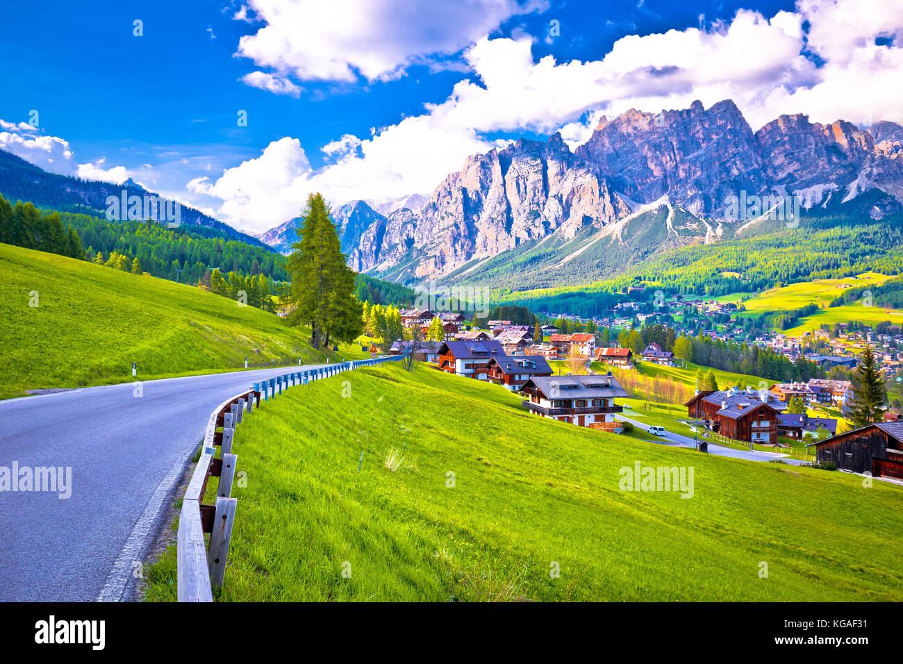 Road to Cortina d' Ampezzo in Dolomites Alps, Veneto region of Italy - Stock Image