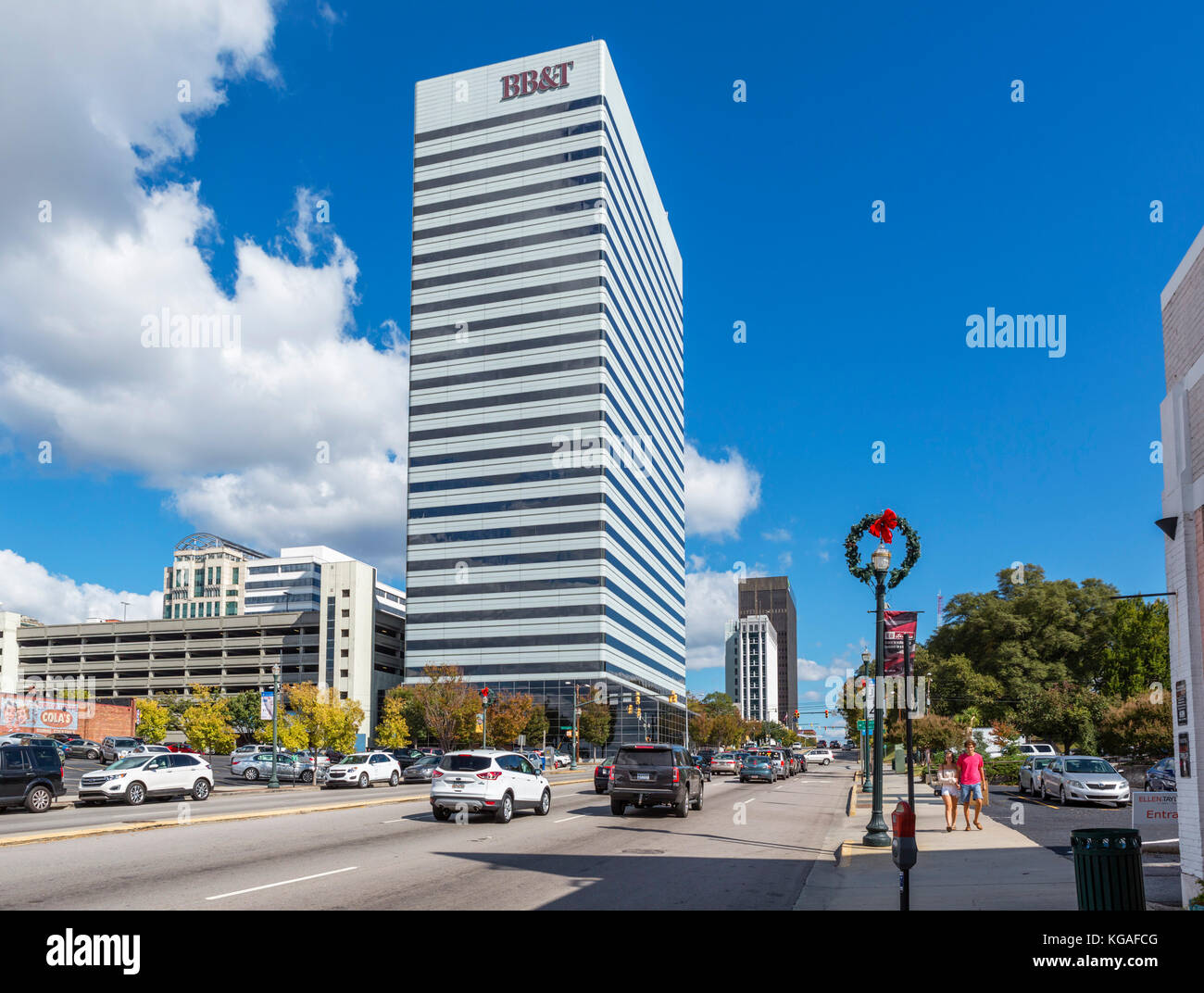 Modern office buildings on Gervais Street in downtown Columbia, South Carolina, USA - Stock Image