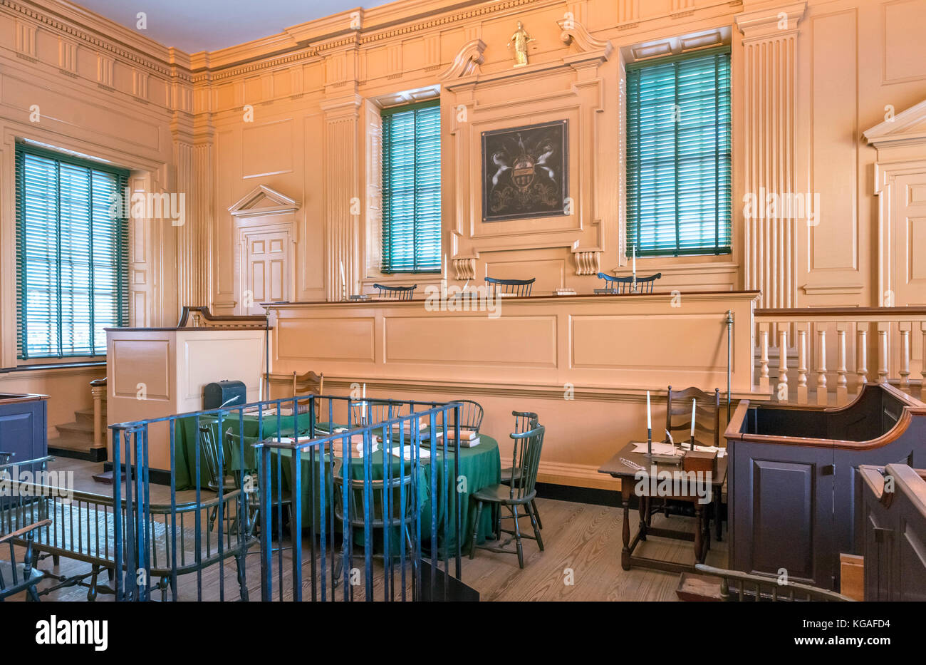 The Supreme Court courtroom in Independence Hall, Independence National Historic Park, Philadelphia, Pennsylvania, - Stock Image