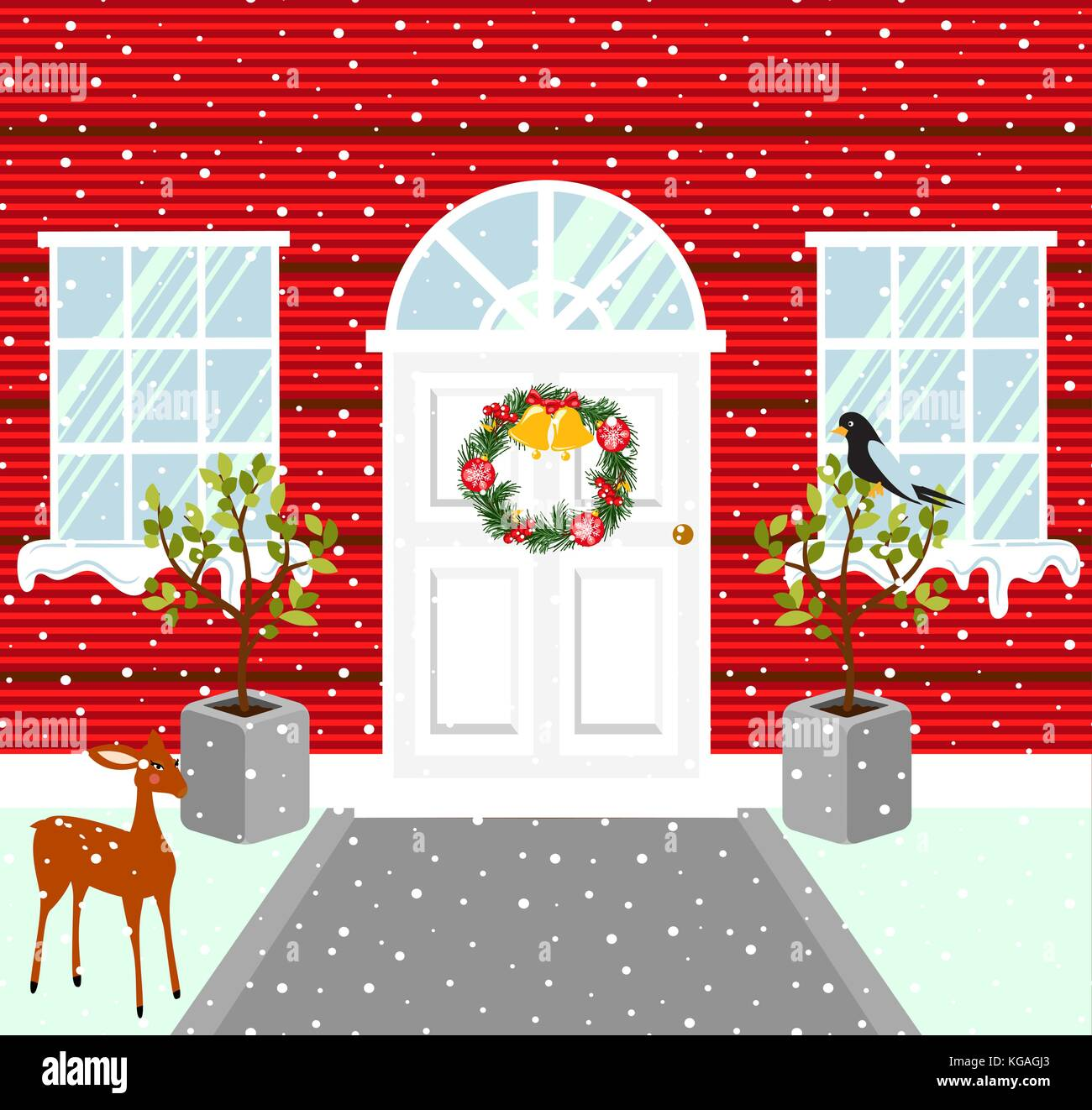 Christmas house outdoor decorations. Snowy weather vector illustration. - Stock Vector