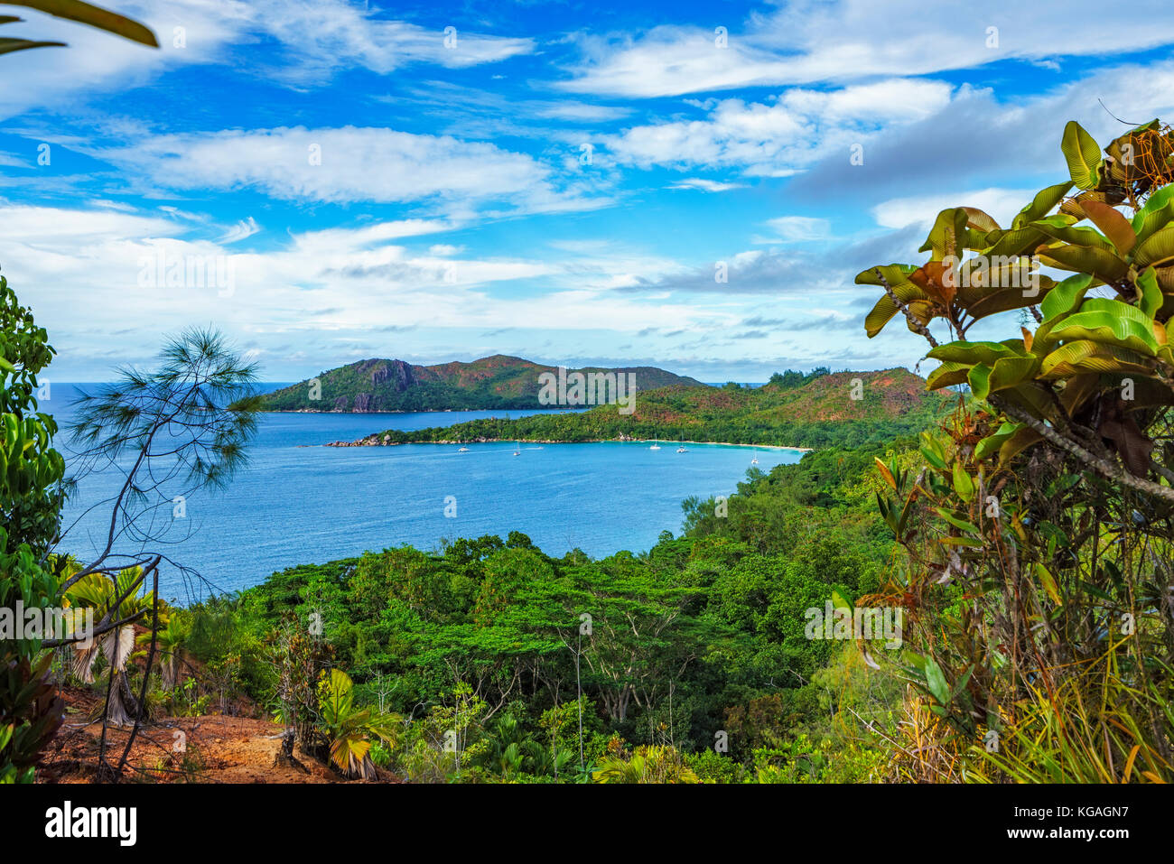 Hiking throug the jungle between the paradise beaches anse lazio and anse georgette, praslin, seychelles. Overview Stock Photo