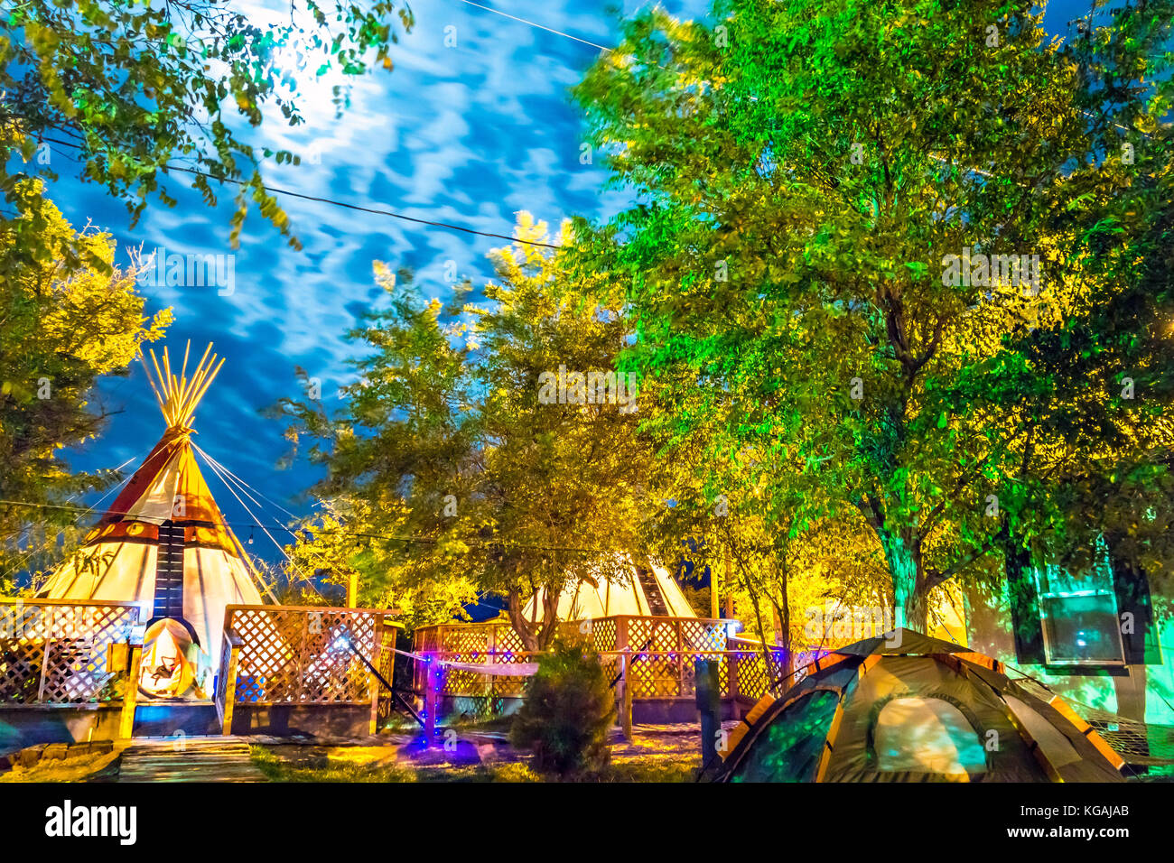 Olancha California Camping in Teepees Tipi Tepees at Olancha RV Park and Motel - Stock Image