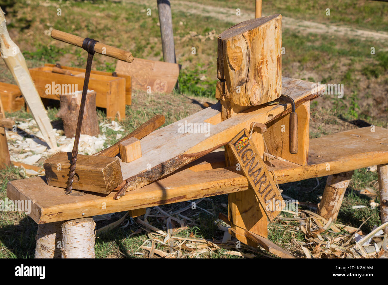 Ancient woodworking equipment. - Stock Image