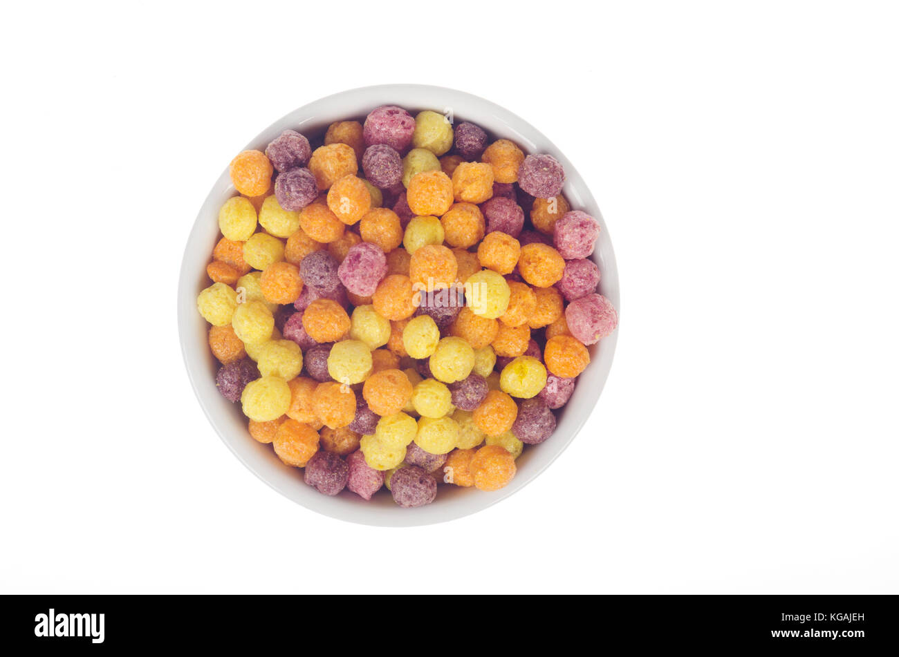 Bowl of Trix cereal by General Mills from above bird's eye view on white background - Stock Image