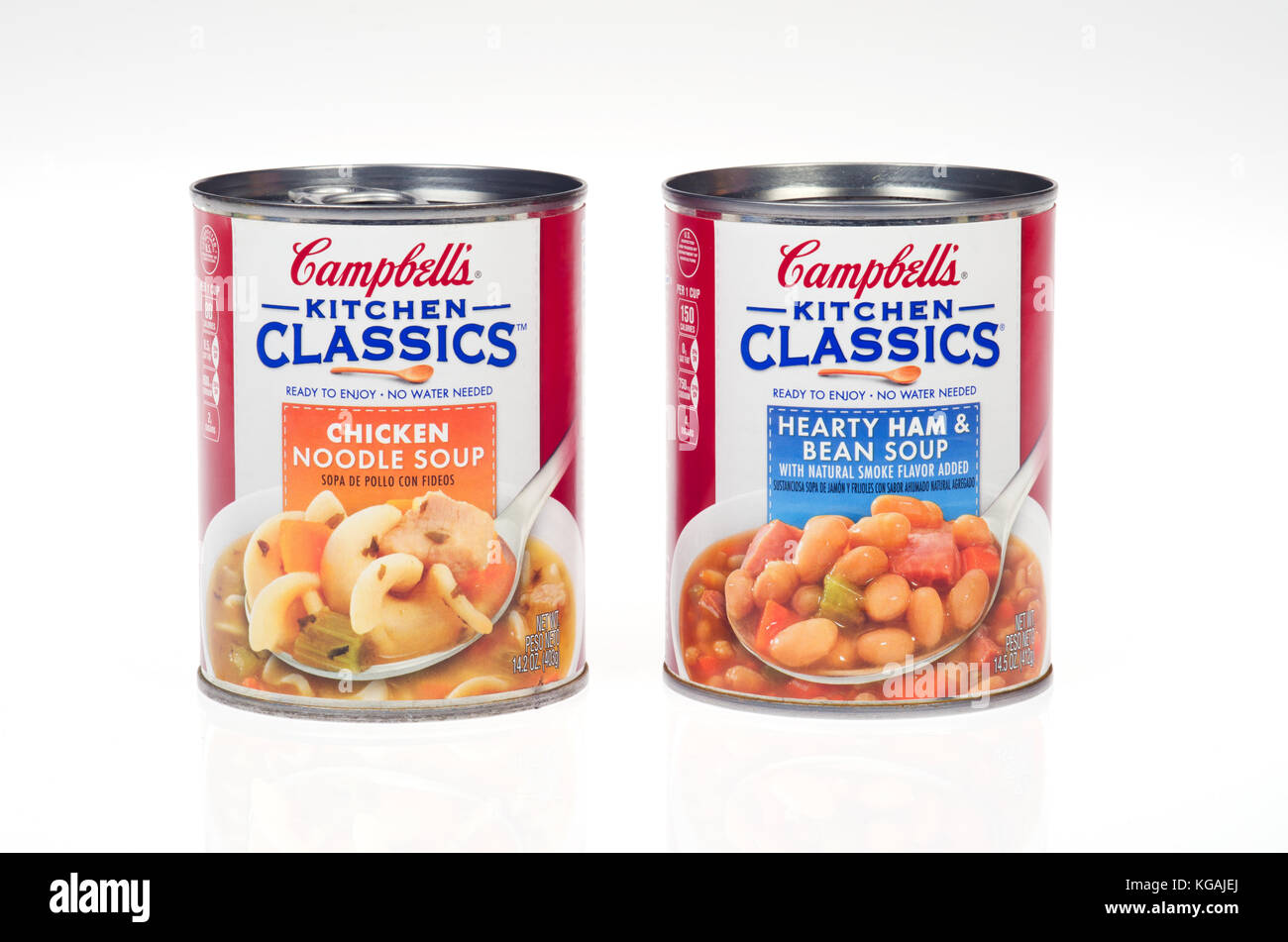 2 cans of Campbell's Kitchen Classics soup, 1 Chicken Noodle and 1 Hearty Ham and Bean - Stock Image