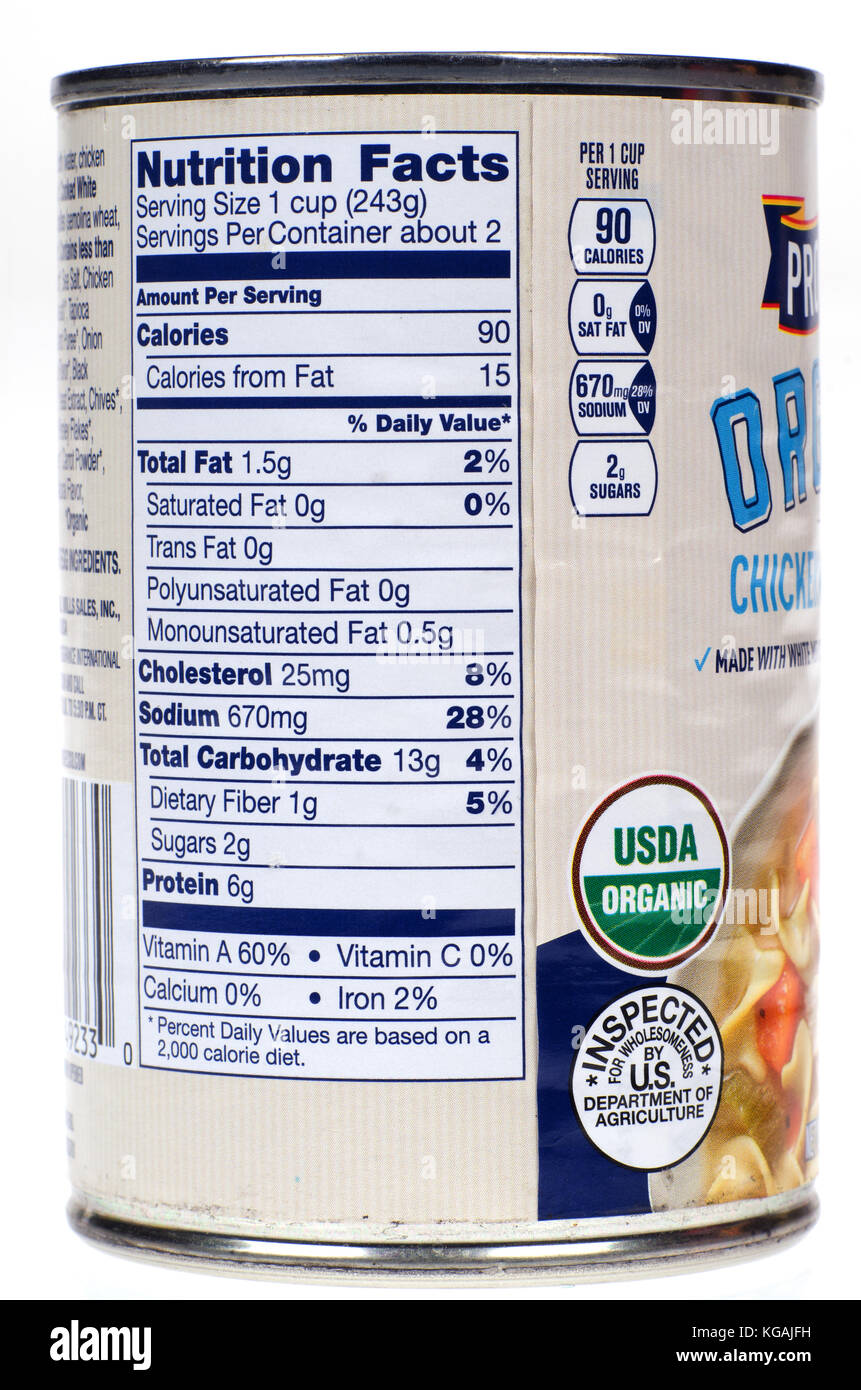 Nutrition label on Progresso Organic Chicken Noodle soup - Stock Image