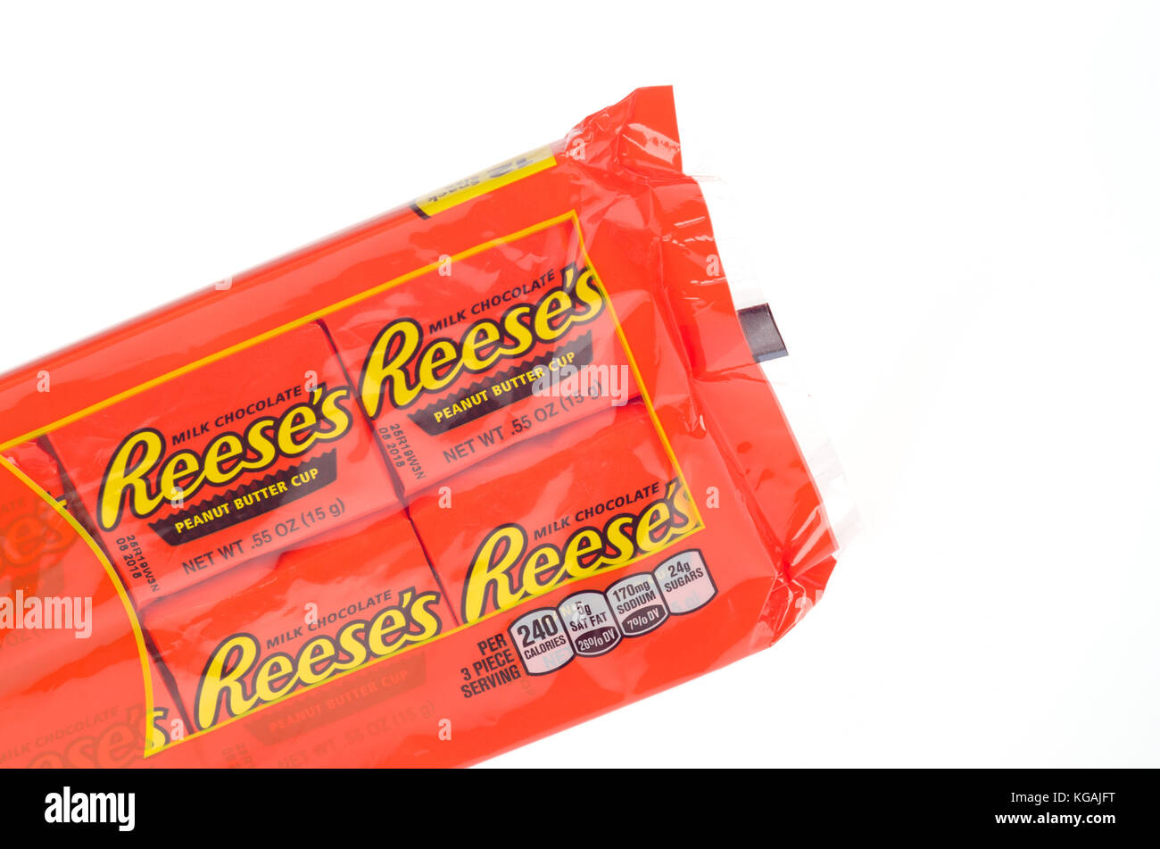 Reese's Chocolate covered Peanut Butter Cups candy package from Hershey's - Stock Image