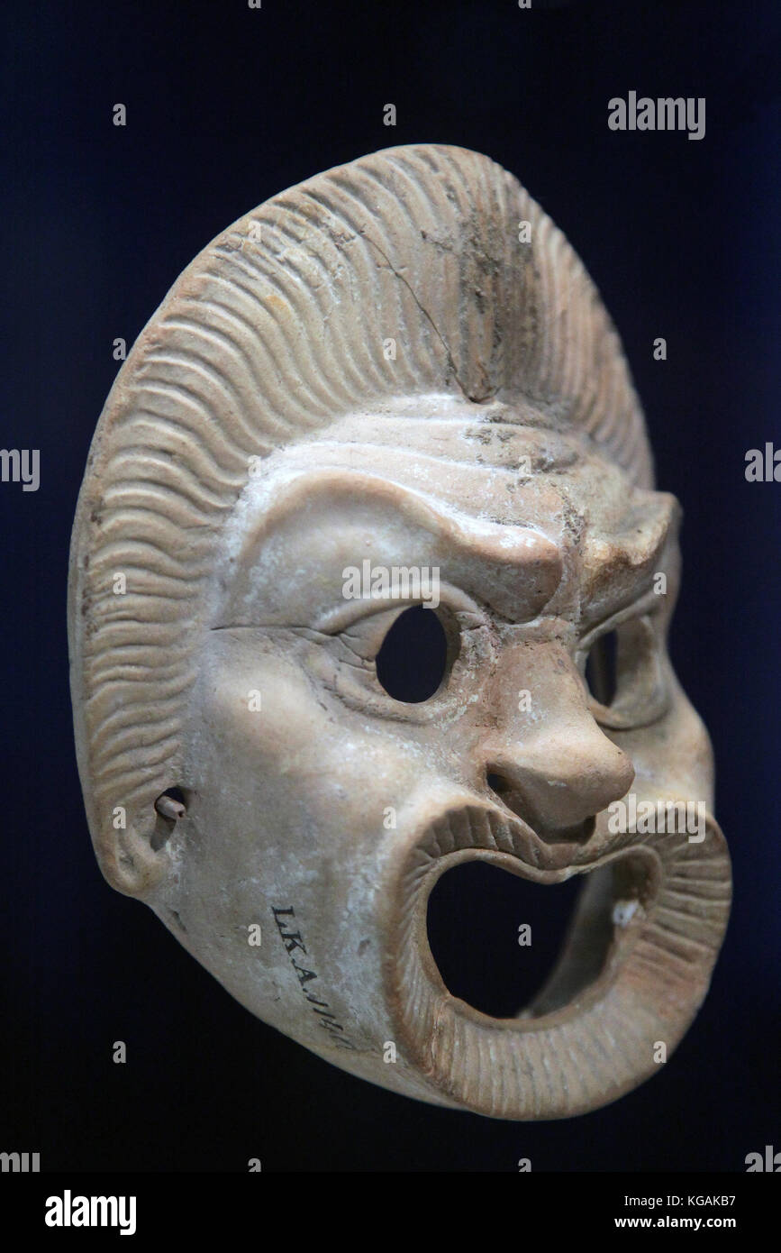 Theatrical mask Terracotta from western anatolia 100-200 ad - Stock Image