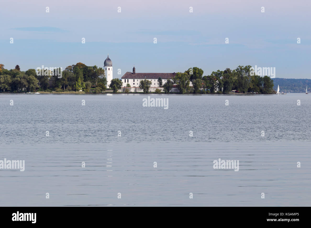 View of Frauenchiemsee island seen from Herreninsel island Stock Photo