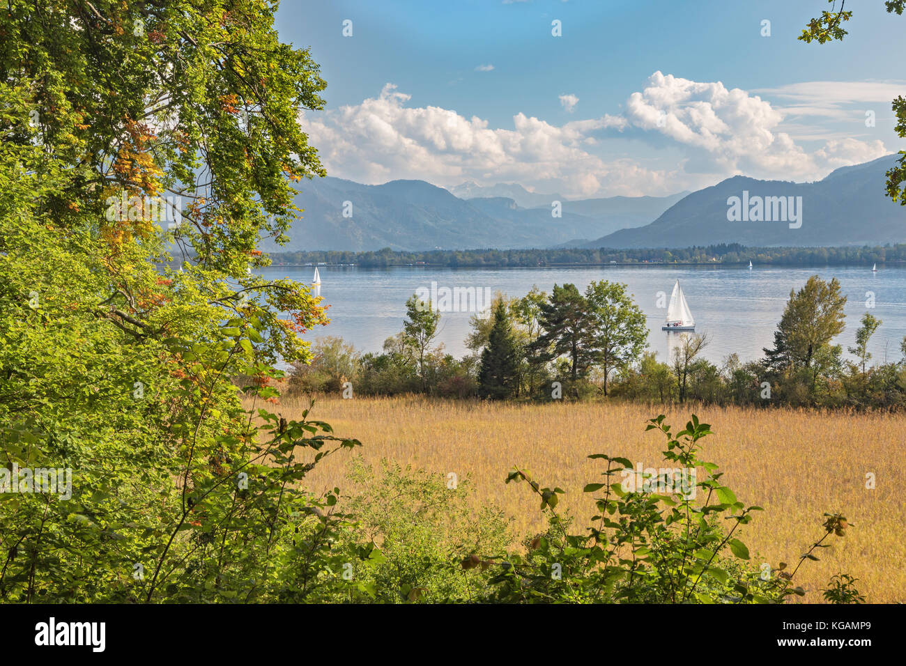 View of the Alps from the Herreninsel in the Chiemsee - Stock Image