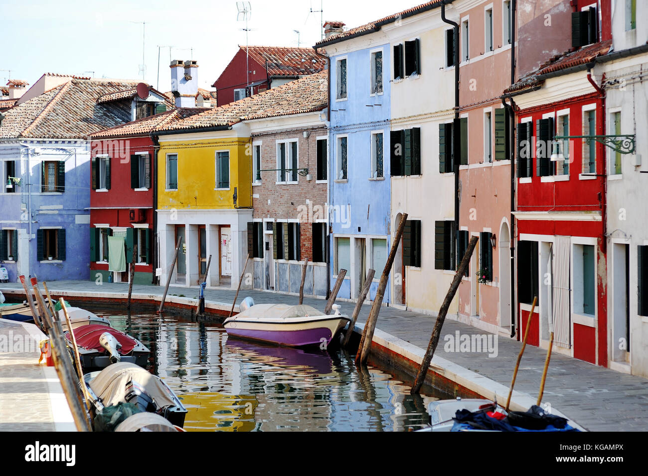 Venice, Burano island, Italy - view of canal and colorful buildings - Stock Image
