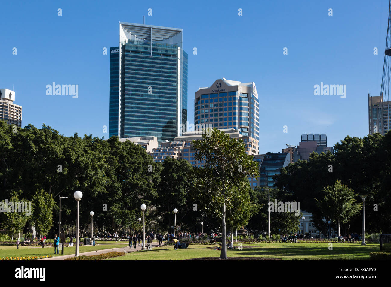 A view of Hyde Park from St Mary's Cathedral, Sydney, Australia. It is the oldest park in Australia and is situated - Stock Image