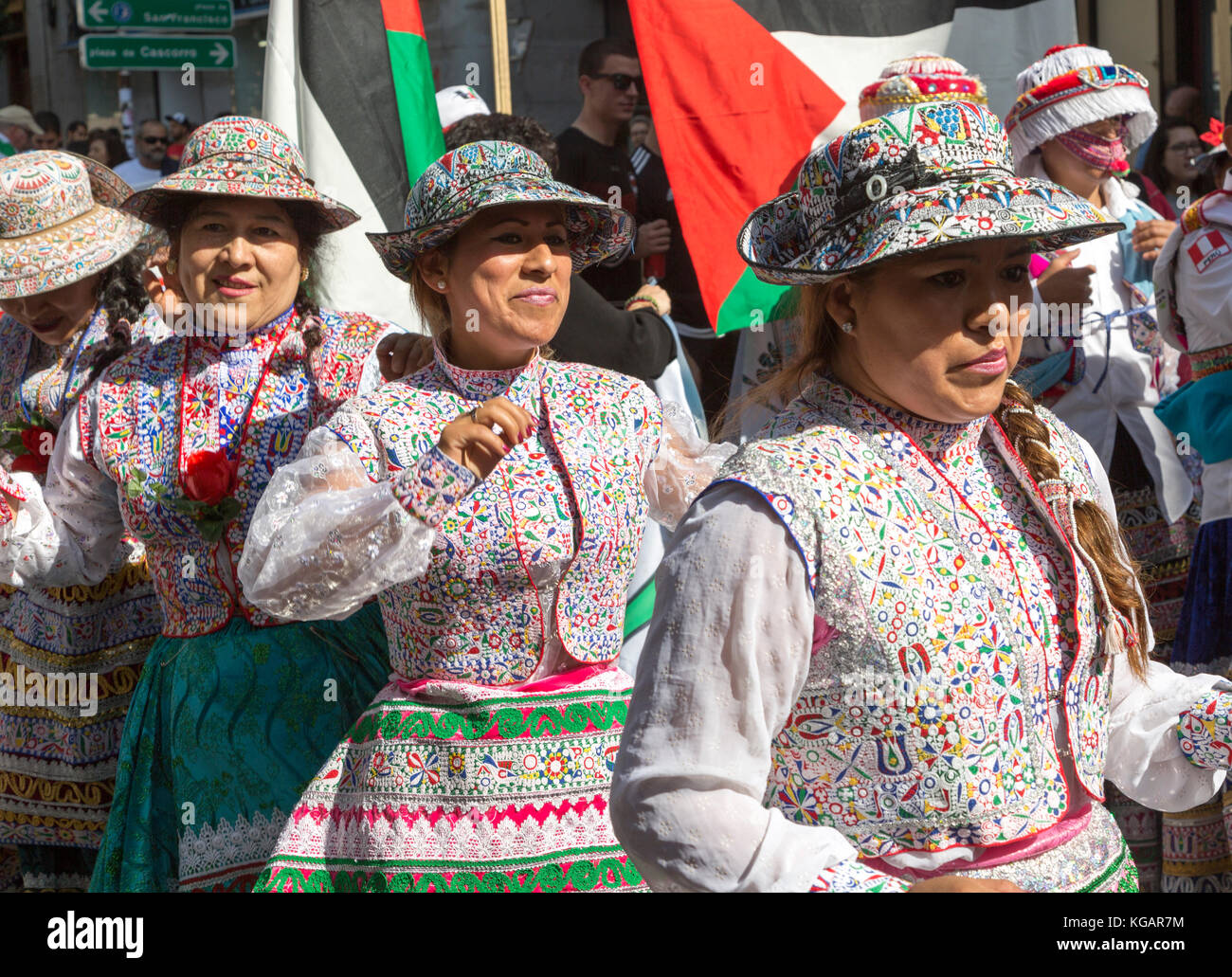 Political rally march on Columbus Day, Fiesta Nacional de España, October 12 2017, Madrid, Spain - Stock Image