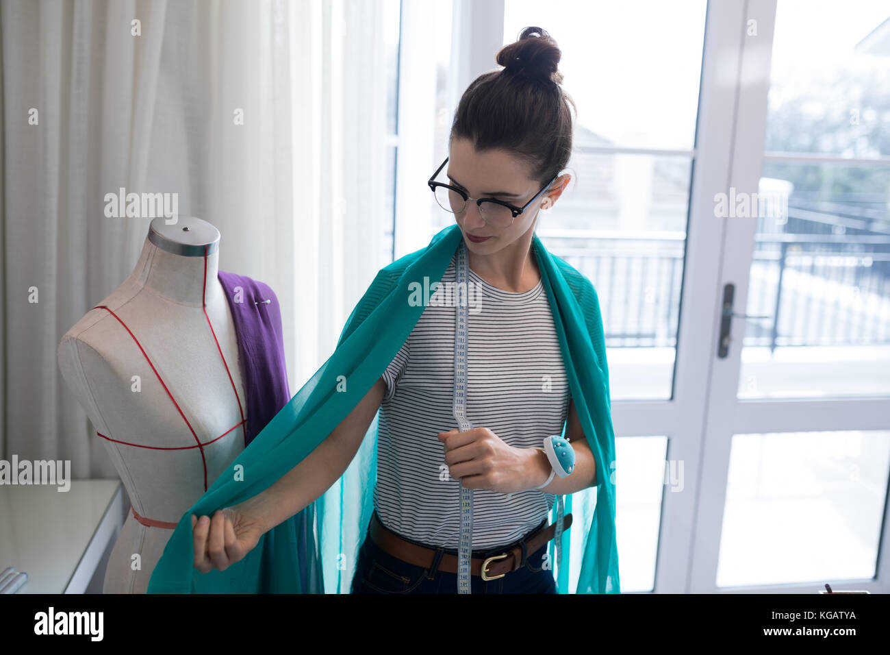 Fashion Designer Designing A Fabric Textile At Home Stock Photo Alamy
