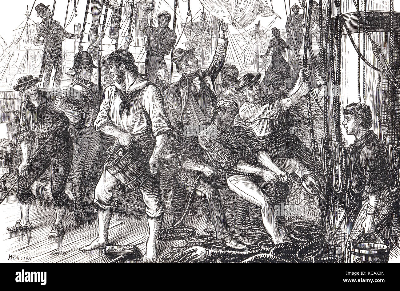 Scene on board ship, Glorious First of June, 1794, Lord Howe's victory - Stock Image