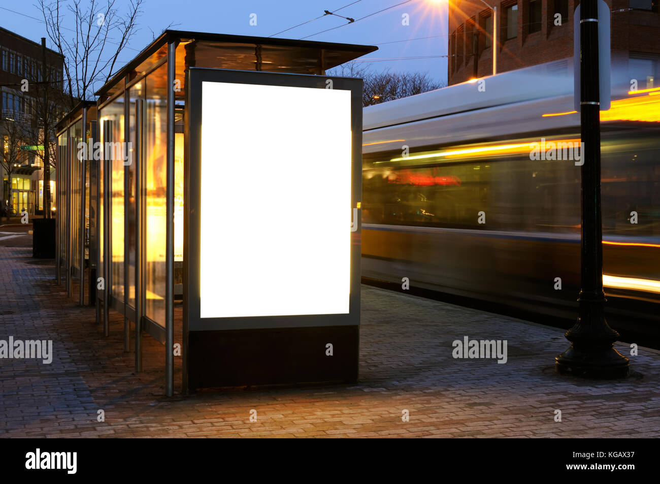 Blank billboard on bus shelter at night - Stock Image & Bus Shelter Poster Stock Photos u0026 Bus Shelter Poster Stock Images ...