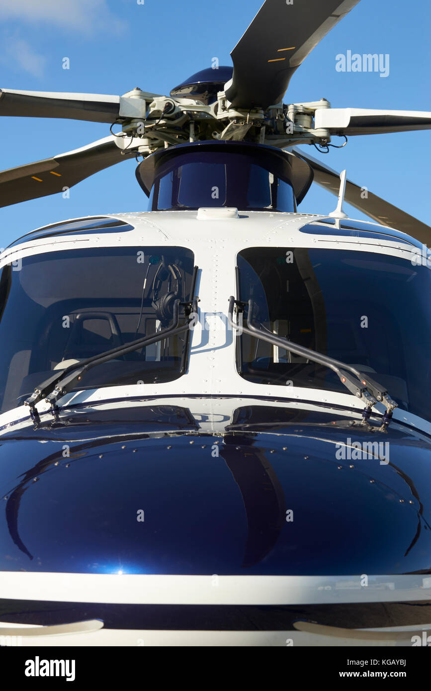 Exterior Front View Of Helicopter Cockpit And Rotor Blades - Stock Image