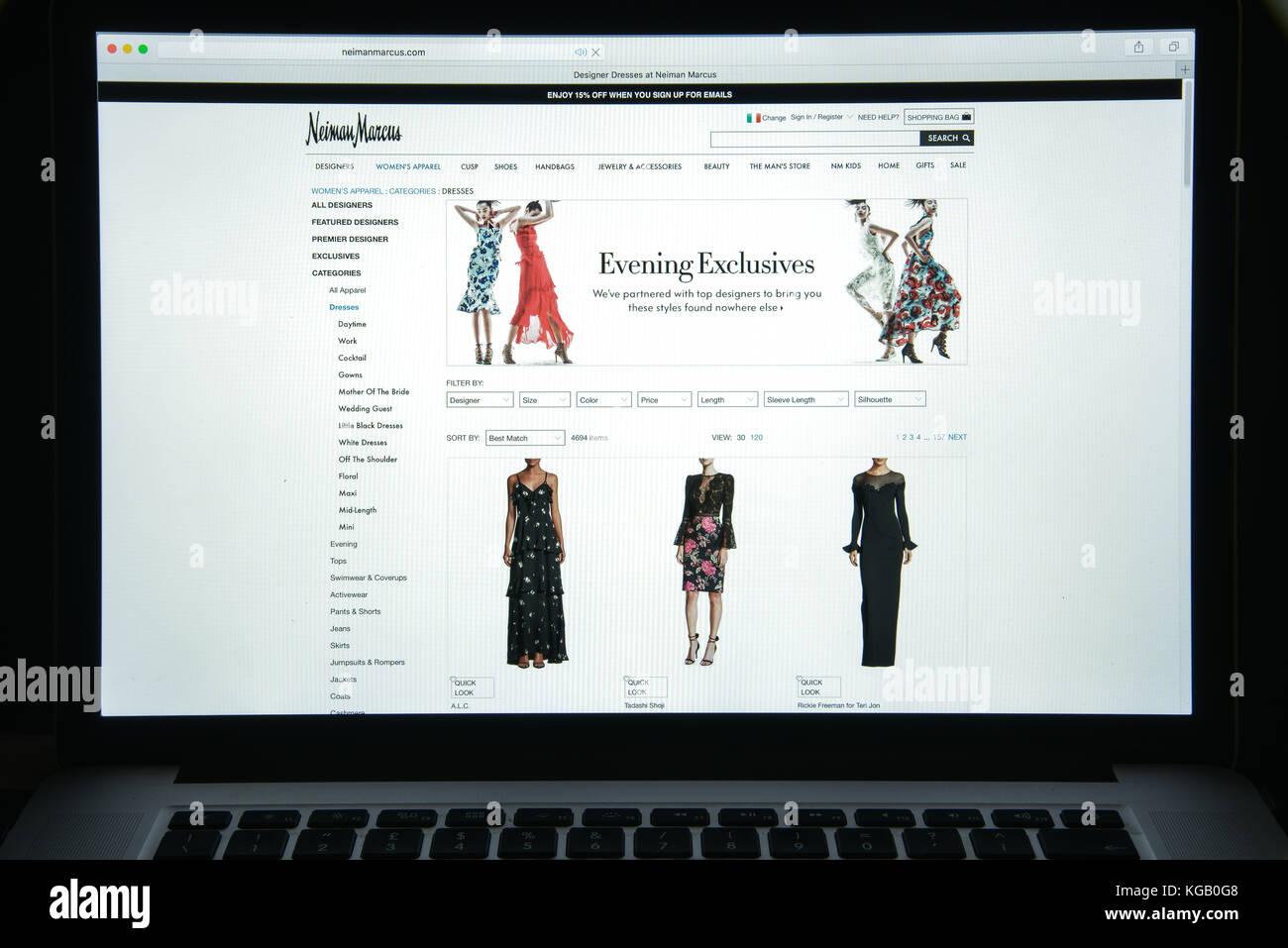 Milan, Italy - August 10, 2017: Neiman Marcus website