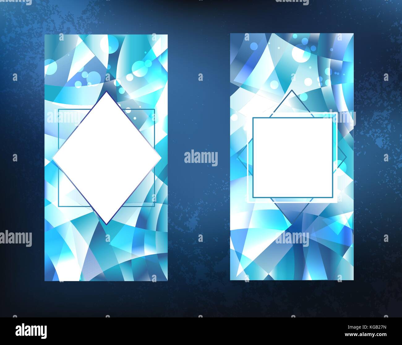 two crystalline, icy, blue, faceted, sparkling banner on a dark background. Ice design. - Stock Vector