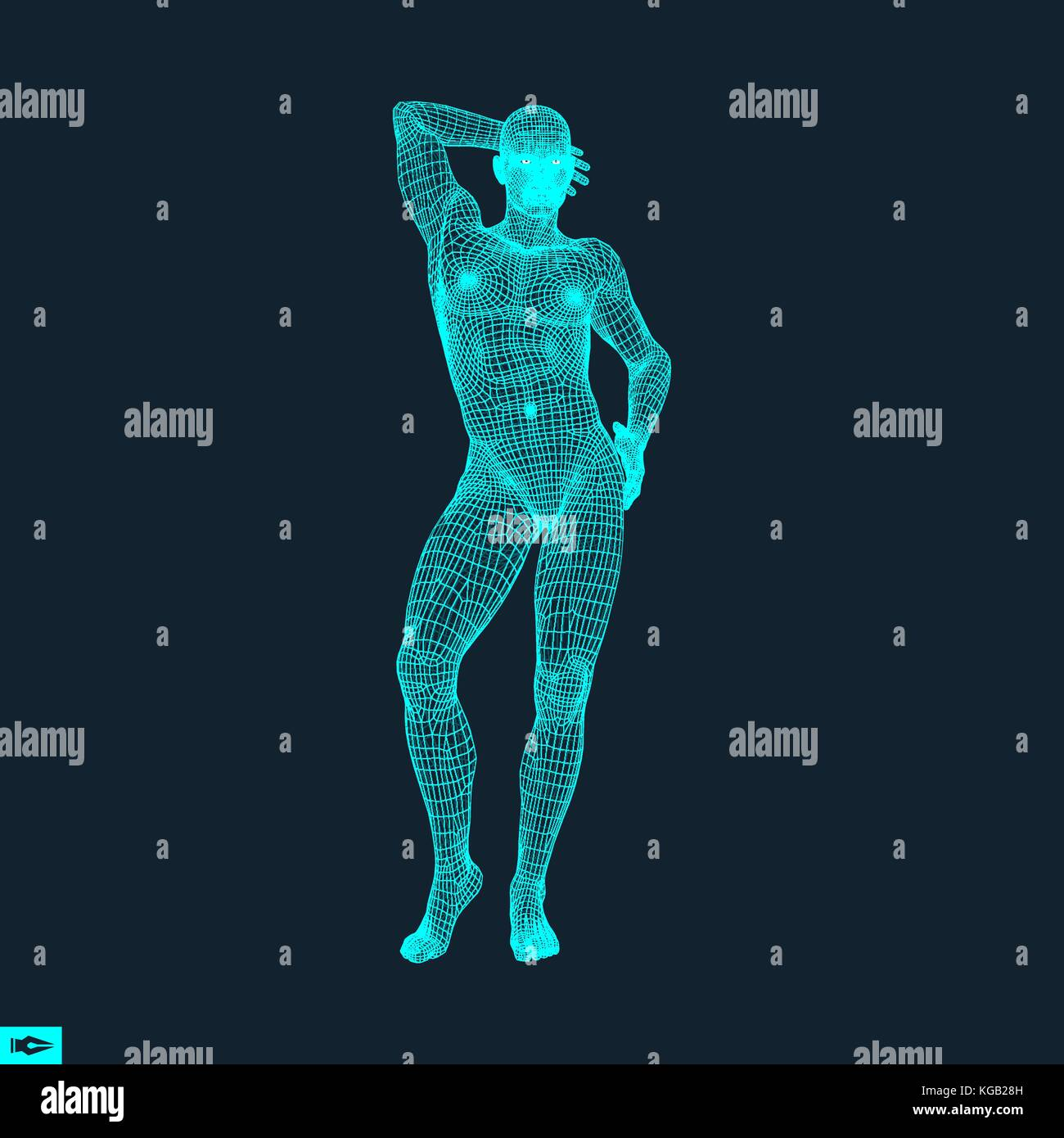 Man Stands on his Feet. Man Thinks about Something. Polygonal Design. Human Body Model. 3D Vector Illustration. - Stock Vector