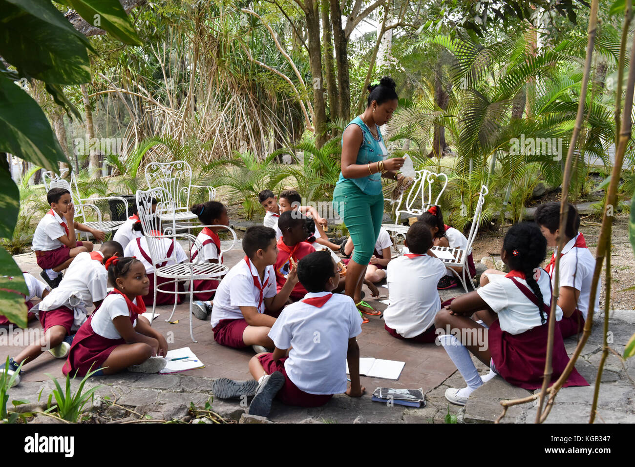 Educational outing of Cuban schoolchildren to Finca Vigía, Hemingway's house that is now a museum Stock Photo