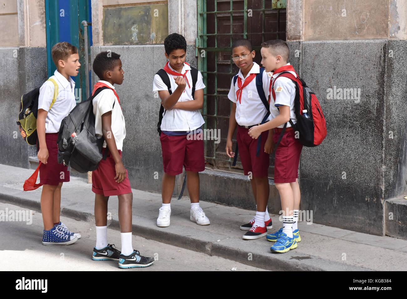 Schoolboys Habana Vieja Cuba - Stock Image