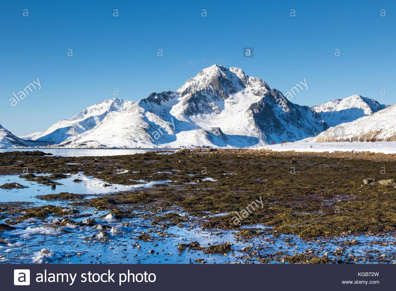 landscape at e10 near leknes, vestvågøy, vestvågøya, lofoten, nordland, norway, march 2017 - Stock Image