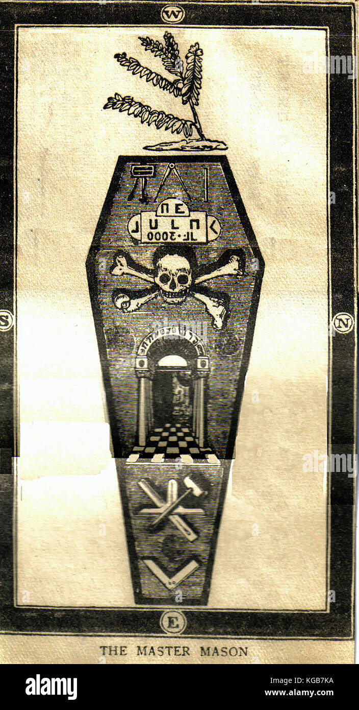 TRACING BOARD FOR THE DEGREE OF MASTER MASON IN FREEMASONRY - From a Victorian book - Stock Image