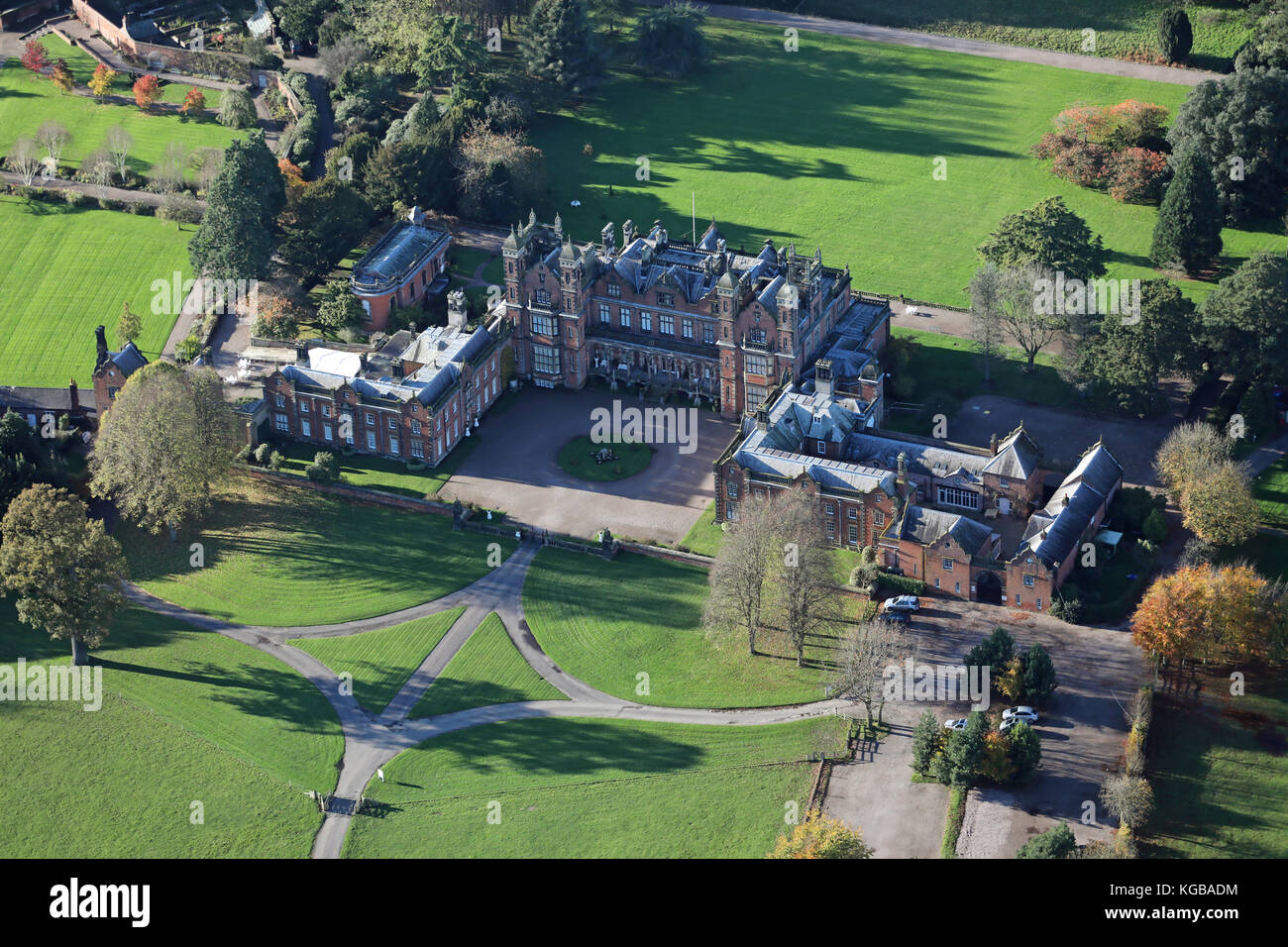 aerial view of Capesthorne Hall country house wedding venue near Macclesfield, Cheshire, UK - Stock Image
